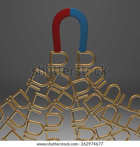 Blue and red glossy horseshoe or U shape magnet attracting many golden rouble signs hanging against gray background - stock photo