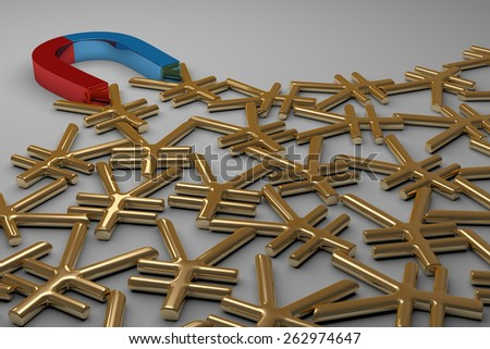 Blue and red glossy horseshoe or U shape magnet attracting many golden yuan signs lying on gray background - stock photo