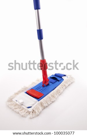 Blue and Red Mop isolated on white - stock photo