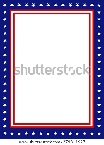 Blue and red patriotic stars and stripes page  border / frame design - stock photo