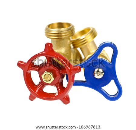 Blue and red plumbing valves isolated on white background - stock photo