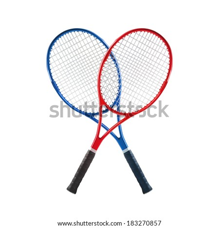 Blue and red tennis rackets isolated white background - stock photo