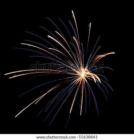 Blue and reddish burst of fireworks, off center, on square black background - stock photo