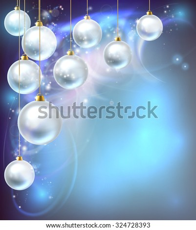 Blue and silver abstract Christmas bauble decoration ornaments festive design background. - stock photo