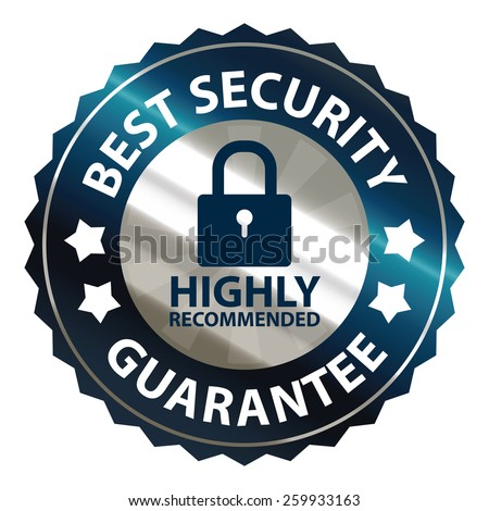 blue and silver metallic best security guarantee highly recommended sticker, sign, stamp, icon, label isolated on white - stock photo