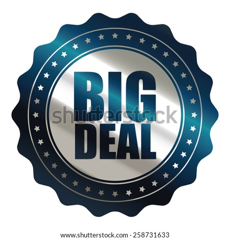 blue and silver metallic big sale sticker, badge, icon, stamp, label, banner, sign isolated on white  - stock photo