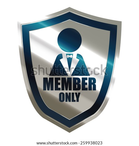 blue and silver metallic member only badge, shield, sticker, sign, stamp, icon, label isolated on white - stock photo