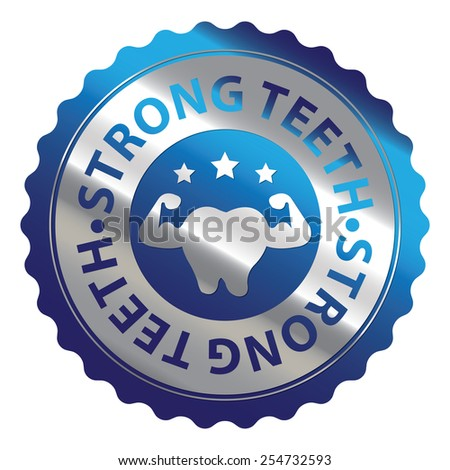 Blue and Silver Metallic Strong Teeth Badge, Icon, Label, Sign or Sticker Isolated on White Background  - stock photo
