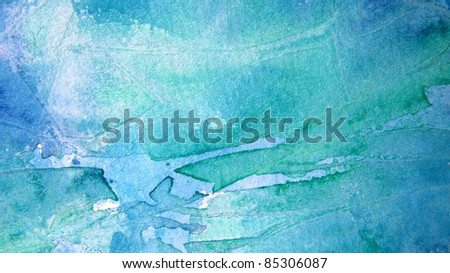Blue and Turquoise Watercolor Background 1 - stock photo