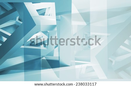 Blue and white abstract 3d illustration background with chaotic constructions made of cubes - stock photo