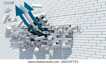 blue and white arrows breaks the wall - eurozone crisis - grexit - stock photo