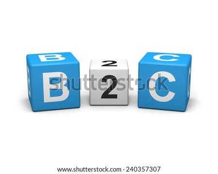 Blue and white b2c cubes on white background - stock photo