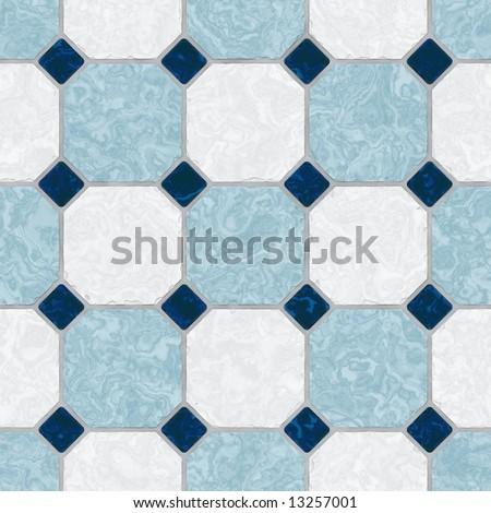 Blue and white ceramic tile kitchen floor - seamless texture - stock photo