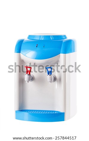 Blue and white cooler isolated on white background. - stock photo