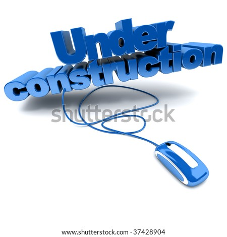 Blue and white 3D illustration of the word Under construction connected to a computer mouse - stock photo