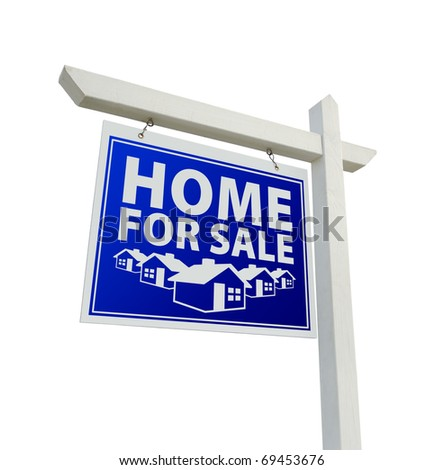 Blue and White Home for Sale Real Real Estate Sign Isolated on a White Background. - stock photo
