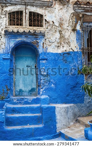 Blue and white medina in Chefchaouen, Morocco. - stock photo