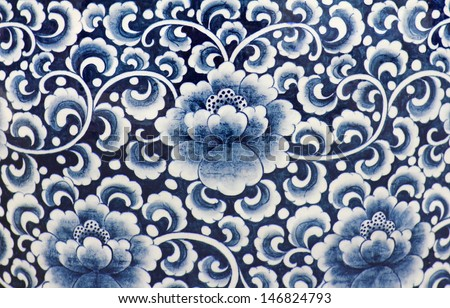 Blue and white porcelain of the flower pattern - stock photo
