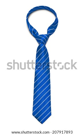 Blue and White Striped Tie Isolated on White Background. - stock photo
