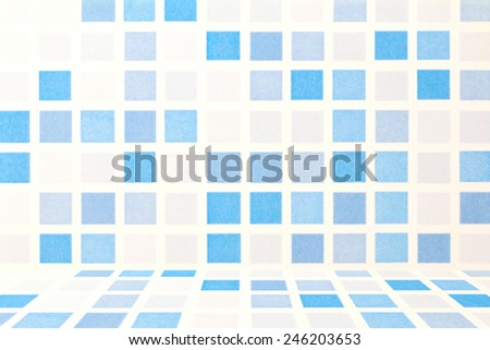 blue and white tile ceramic wall background - stock photo