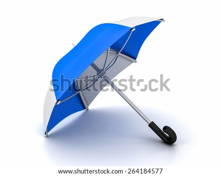 blue and white umbrella on a white background - stock photo