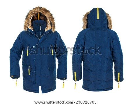blue and yellow men's sports jacket with fur on isolated white. Front and rear views  - stock photo