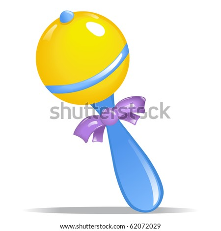 Blue and Yellow Round Baby Rattle with Purple Ribbon - stock photo