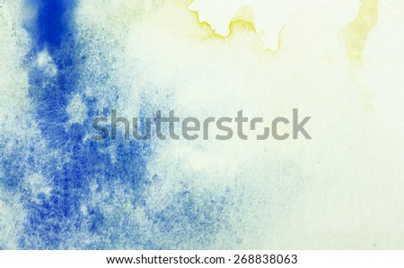 blue and yellow watercolor background - stock photo