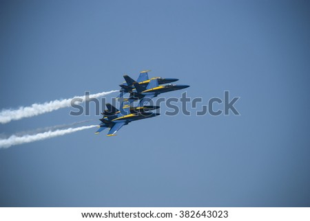 Blue Angels in Formation/May 19, 2009, Annapolis MD, Members of the Blue Angels flying squad flying in formation at the Naval Academy graduation ceremony. - stock photo
