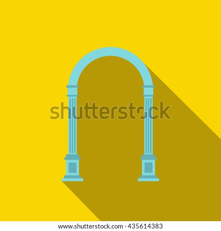Blue arch icon, flat style - stock photo