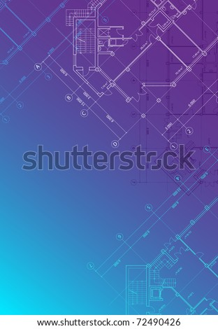 Blue architectural background with plans of buildings in vertical format (see eps version in my portfolio) - stock photo