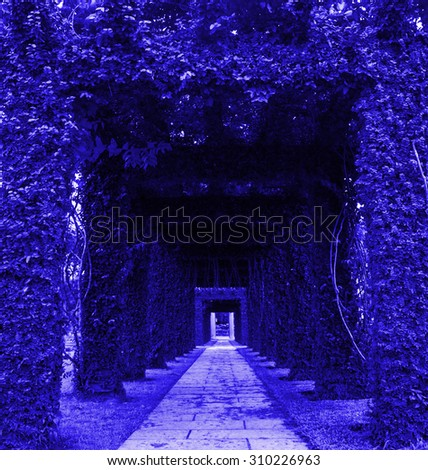 blue archway in a garden.  - stock photo