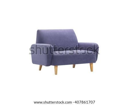 Blue armchair isolated with clipping mask, side view.  - stock photo