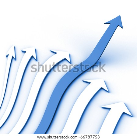 Blue arrow going up - 3d render illustration - stock photo