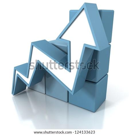 blue arrow going up with grow cubes bar chart - stock photo