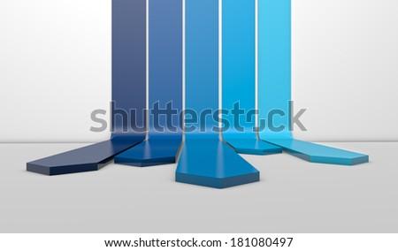Blue arrow lines on white background - stock photo
