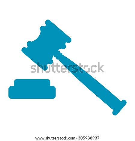 Blue Auction Hammer Infographics Flat Icon, Sign Isolated on White Background - stock photo