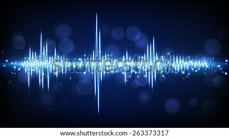 blue audio waveform. computer generated technology background - stock photo