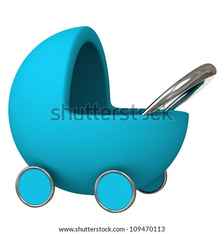 Blue baby carriage 3d - stock photo