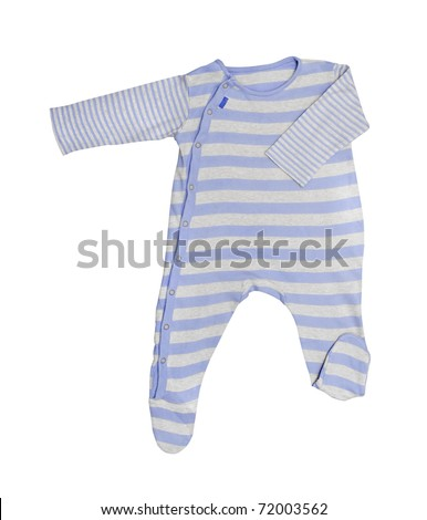 Blue baby clothes isolated on white background - stock photo