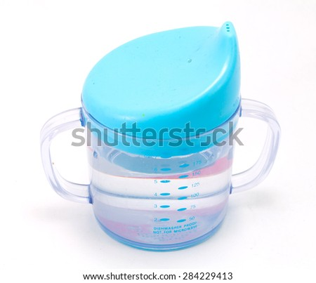 Blue Baby sippy cup isolated on white background - stock photo