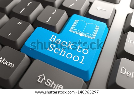 """Blue """"Back to Scholol"""" Button on Computer Keyboard. Education Concept. - stock photo"""