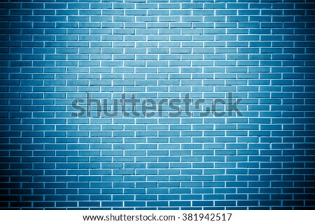blue background brick wall texture - stock photo