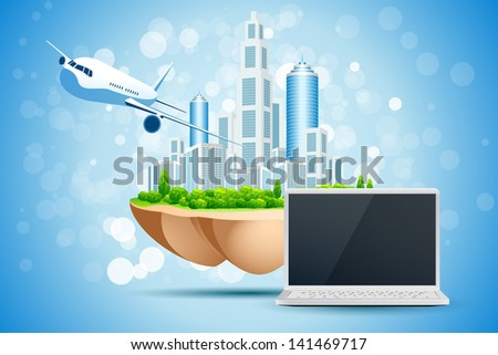 Blue Background with Business City Island Laptop and Aircraft - stock photo