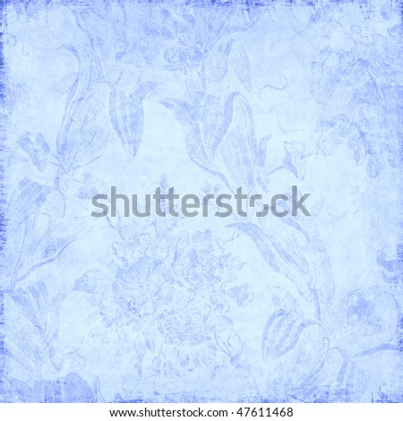blue background with delicate floral pattern - stock photo