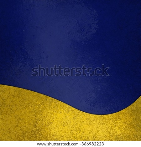 blue background with fancy elegant wavy gold design element on bottom border, abstract waved yellow decoration - stock photo