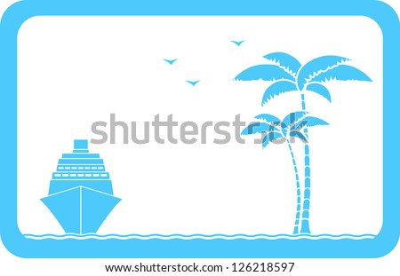 blue background with ship, palm and seagull and sample text - stock photo