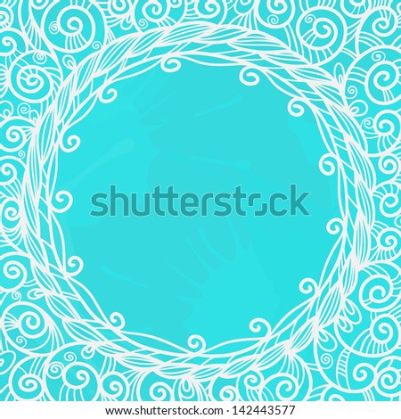 Blue background with white floral frame and space for text - raster version - stock photo