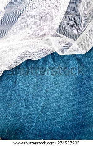 blue background with white mesh fabric - stock photo