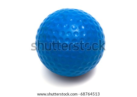 blue ball golf on a white background - stock photo